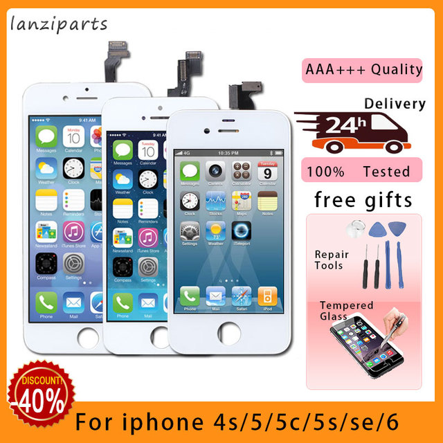 Pantalla LCD Tianma 100% de calidad AAA con digitalizador de pantalla táctil para iPhone 5S 5 5C SE 6 7 8 6s Pantalla de 4s + vidrio templado + herramientas