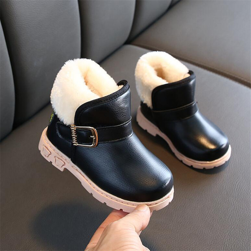 MHYONS Winter Warm Child Snow Boots Shoes Plush Thicker Sole Boys Girls Snow Boots Shoes Size 21-30 Baby Toddler Shoes