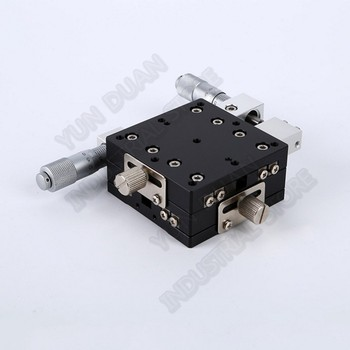 """60*60mm XY Axis 2.5"""" Trimming Station Manual Displacement Platform Cross Roller Guide Way Linear Stage Sliding Table LY60-L"""