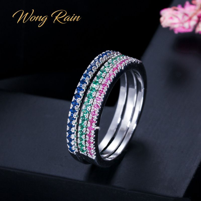 Wong Rain 3 PCS 925 Sterling Silver Created Moissanite Gemstone Wedding Engagement Diamonds Ring Sets Fine Jewelry Wholesale