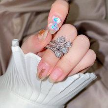 Новые милые кольца серебряного цвета с цирконом и цветком для