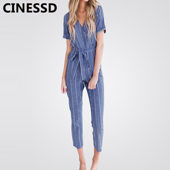 CINESSD Striped Casual Long Jumpsuits V Neck Short Sleeves Lace Up Rompers with Belts Elegant Bodysuits Thin High Waist Playsuit purple lace design v neck long sleeves self tie waist pajamas