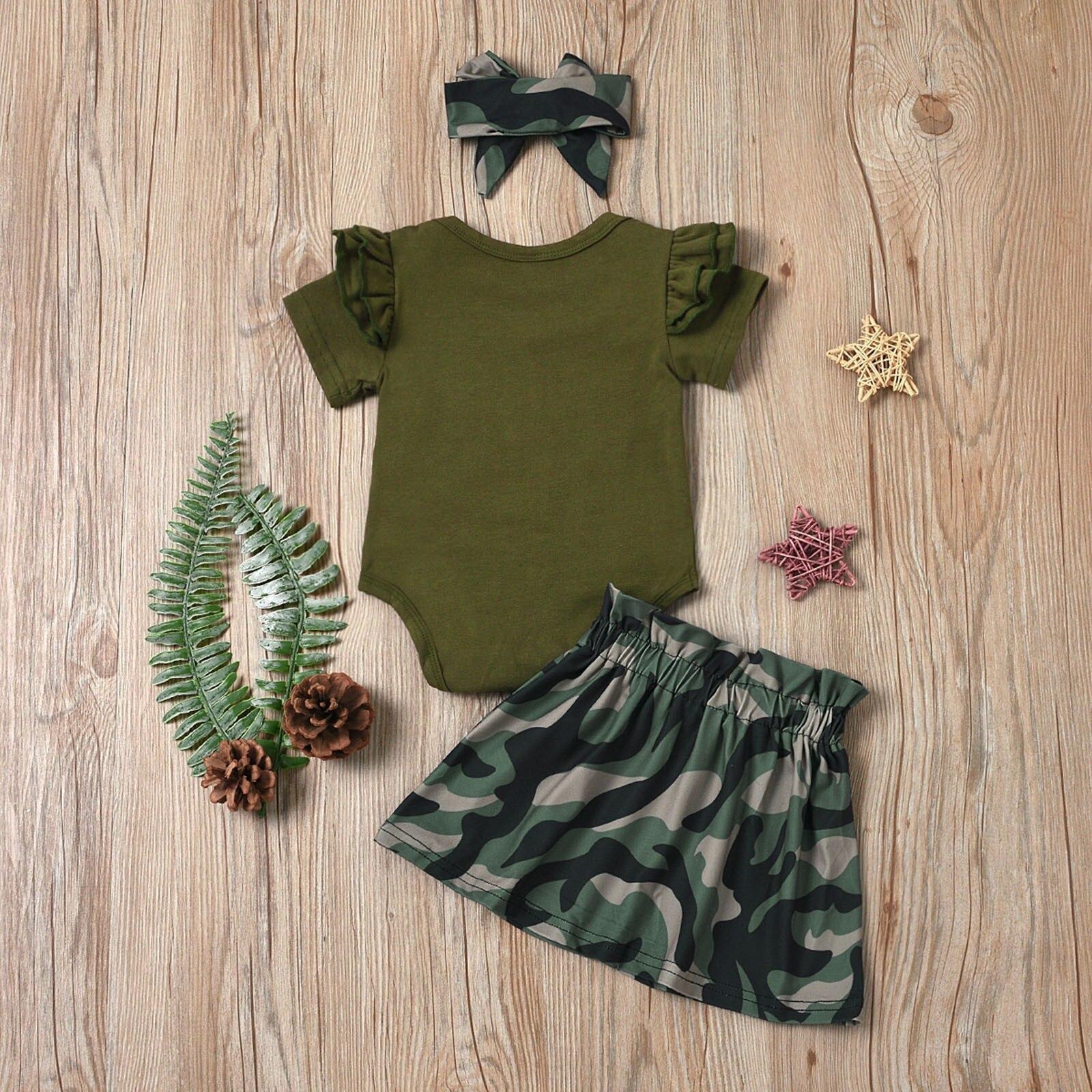Newborn Baby Girl Short Sleeve Letter Print Romper+Camouflage Skirt+headband Set