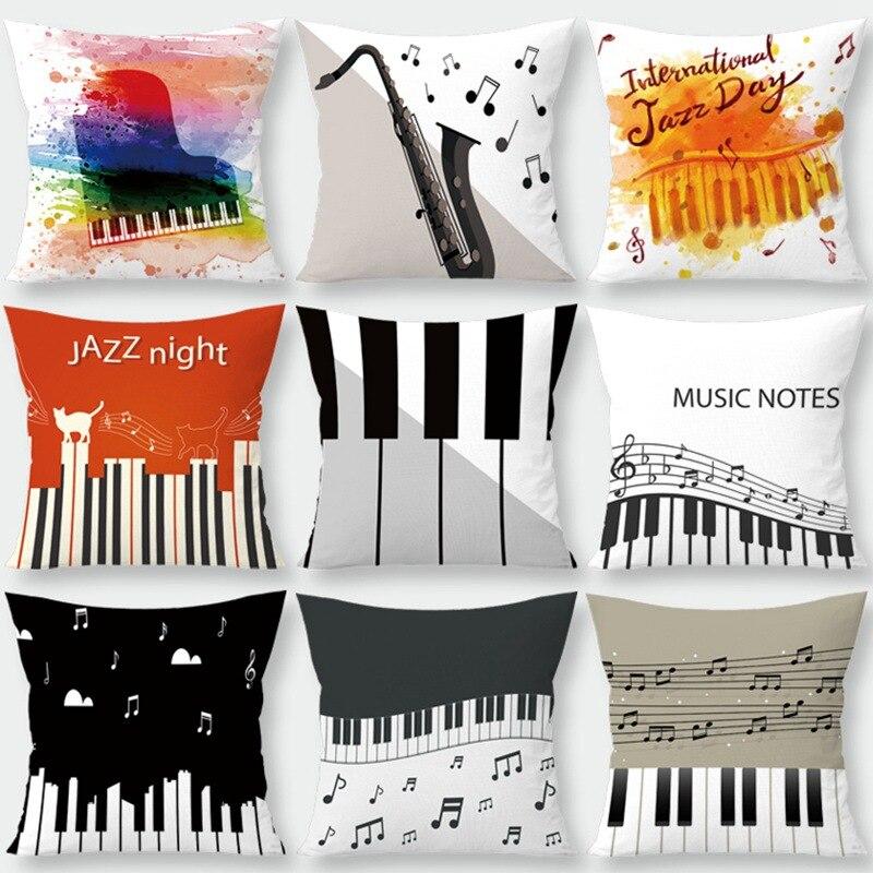 45x45cm Music Notes Cushion Cover Musical Note Printing Throw Pillow Case Cushion Cover Home Decoration Pillowcase