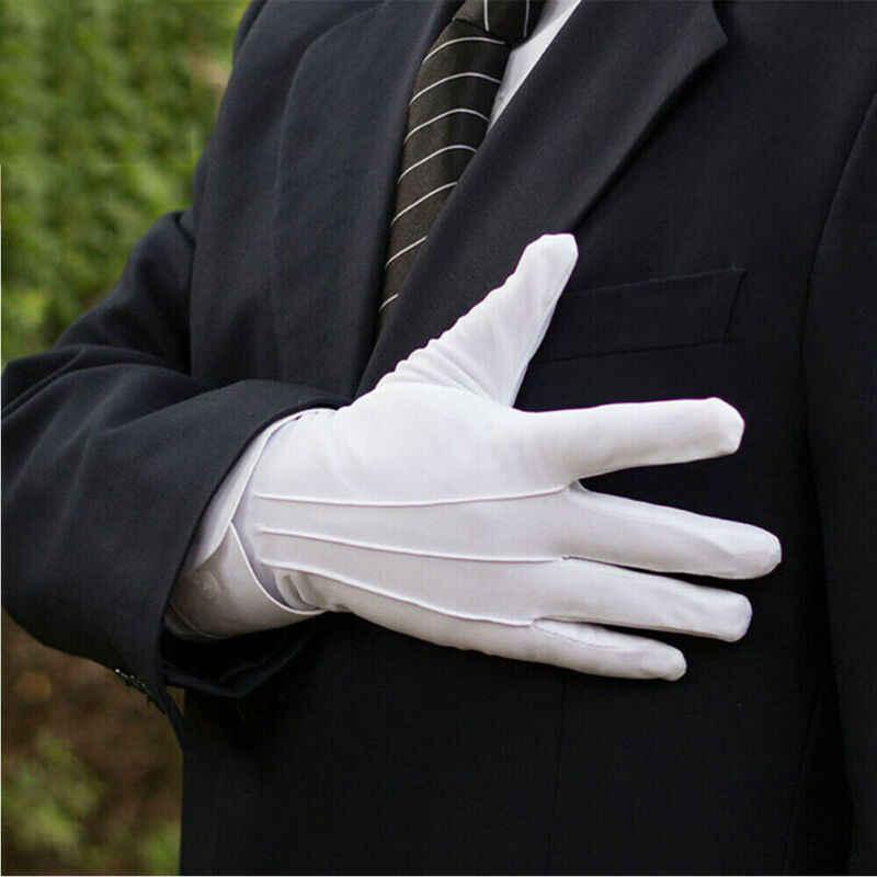 גבוהה באיכות מכירה לוהטת פונקציונלי 1 זוג כותנה כפפות חאן בד באיכות לבדוק מוצק כפפות טקסים לשחק לבן כפפות