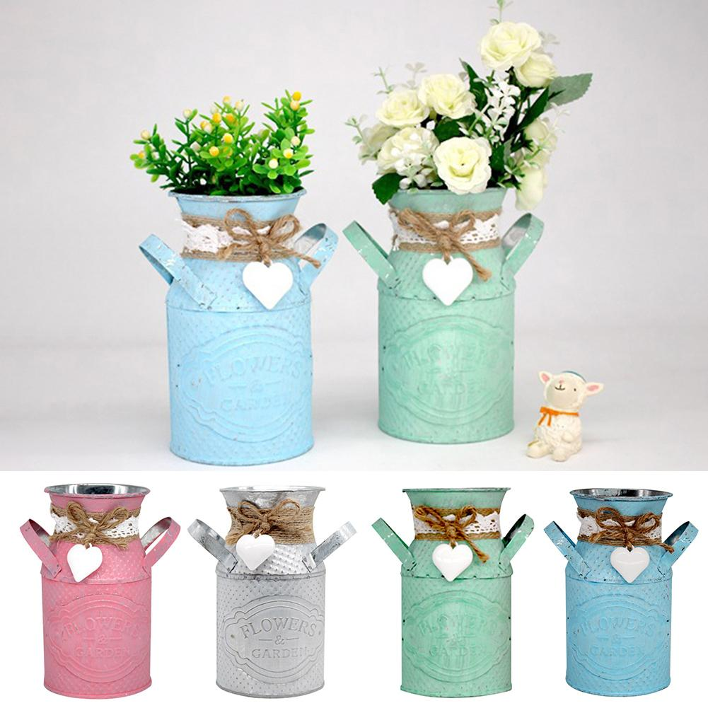 Round Flower Pots Planters Iron Cylindrical Planter Flower Pot DIY Art Succulent Plant Flowerpot Vase Garden Living Room Decor