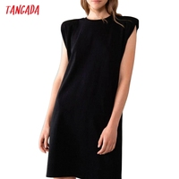 Tangada 2021 Women Elegant Shoulder Pads Knee Cotton Dress Summer Oversized Sleeveless Ladies Solid Dress 6L53 2
