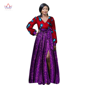 2020 African Dresses for Women African Bazin Riche Long Party Dress Dashiki Women Dress African Print Clothing Plus Size WY2242