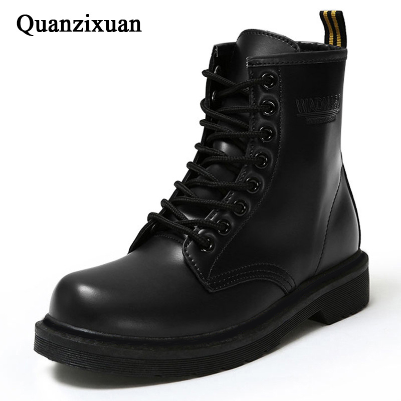Women Boots Work-Shoes Lace-Up Black Female Winter Fashion Pu Ankle Round-Toe title=