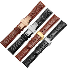 high quality Double sided crocodile skin leather band for brand Wrist watch straps 18mm 19mm 20mm 21mm 22mm for men's bracelet цена 2017