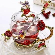 Tasse à café en verre émaillé Rose rouge, tasse de thé et d'eau résistante à la chaleur, faite à la main, cadeau d'amoureux, tasse de mariage