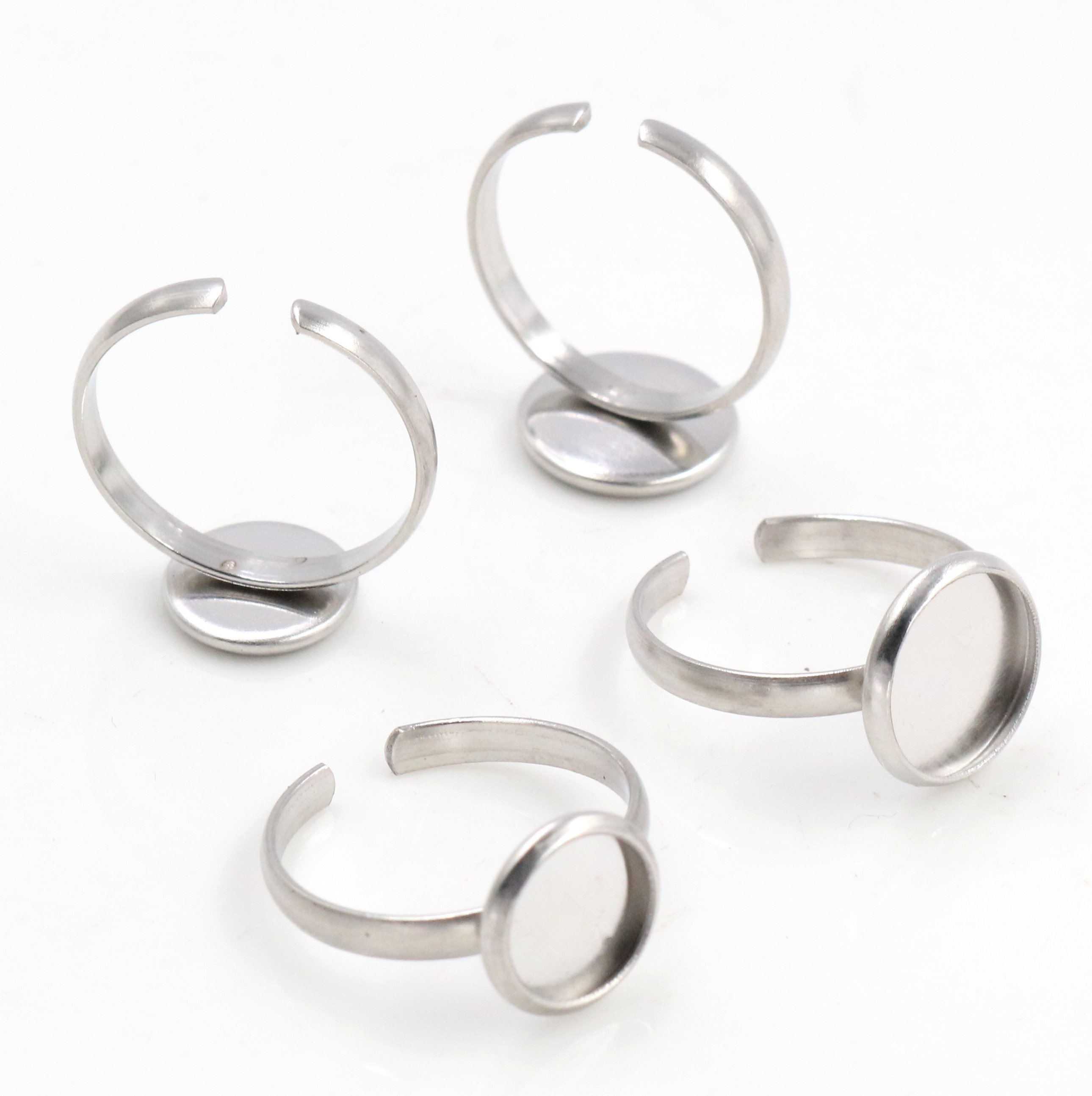 8mm 10mm 10pcs/Lot No Fade Stainless Steel Adjustable Ring Settings Blank/Base,Fit 8mm 10mm Glass Cabochons,Buttons;Ring Bezels