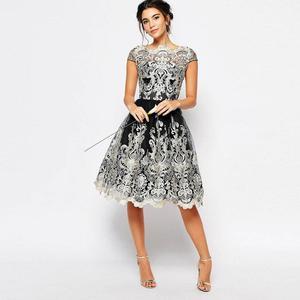 Image 3 - Dangal חתונת אורח שמלת Eveving מסיבת פרח ילדה קצר תחרה Midi שמלה עם רקמת נצנצים