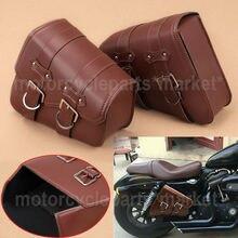 Седло для мотоцикла из искусственной кожи, сумка для багажа, черная левая+ правая сторона, сумка для инструментов для Honda Yamaha Harley Sportster XL 883 XL1200 Softail
