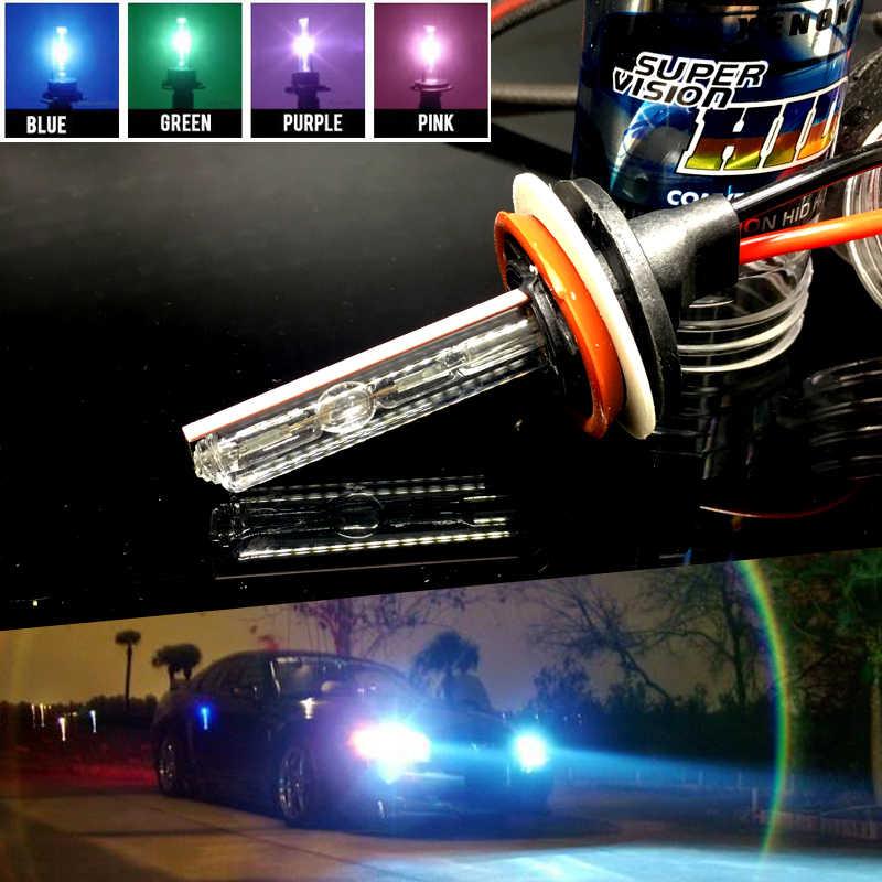 2x H11 H8 H7 H1 H3 9005 9006 HID קסנון הנורה סגול ורוד ירוק כחול 4300K 6000K 8000K אוטומטי פנס ערפל מנורת 12V 35W לבן HB4