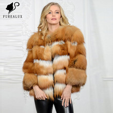 Short Paragraph Winter Jacket For Women New Design Russian Whole Skin Natural Real Red Fox Fur Coat Handmade Clothing Customized