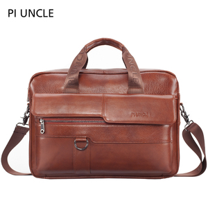 PIUNCLE Brand Men's Genuine Leather Vintage Briefcase 14 inch Computer Bag Business Crossbody Laptop Handbag Documents Messenger(China)