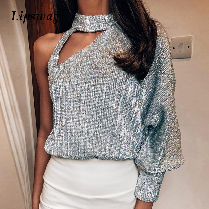 Women Lantern Long Sleeve Sequin Blouses Sexy Off Shoulder Turtleneck Tops Autumn Fashion Hollow Out Bright Shiny Shirt Blouse