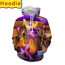 Spyro die drachen hoodie 3d print street männer übergroße pullover mode harajuku mit kapuze sweatshirts kleidung anime kleidung