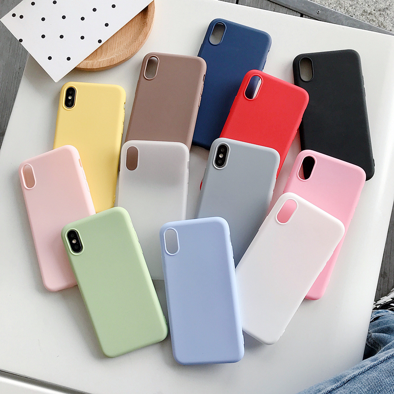 Matte Case For Samsung Galaxy J7 ON7 2016 J2 Pro 2018 J250 Grand Prime Pro Note 5 8 9 10 Plus S6 Eege S7 Solid Color Candy Case image