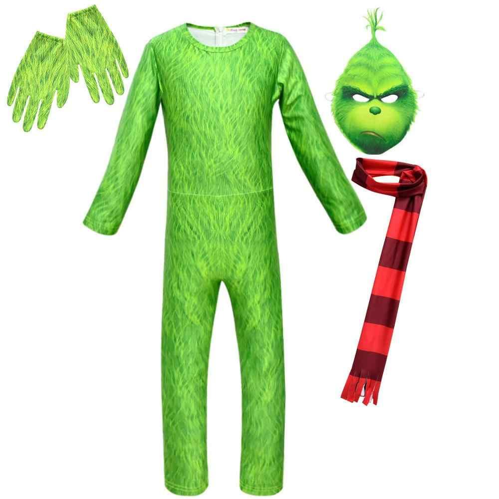 ילדים בני ירוק קוספליי תחפושת ילד גדול ארוך שרוול סרבל חג המולד תלבושות דובי סרבל כפפות צעיף מסכת אבזרי משחק תפקידים