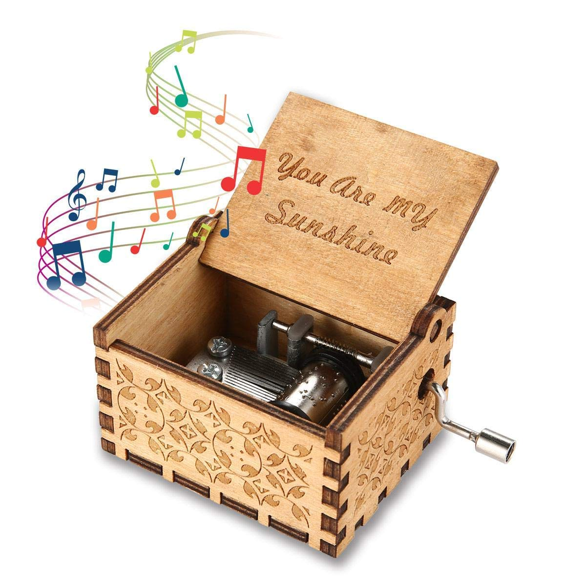 Wooden Music Box Mom/Dad To Daughter -You Are My Sunshine Engraved Toy Kid Gift image
