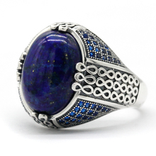 Lapis Lazuli Stone for Men 925 Sterling Silver Blue Stone Vintage Stripe Ring Turkish Thai Silver Jewelry for Male Women Gift