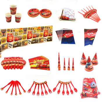 Dinsey Cars 3 Theme Paper Cup Plate Straw Child Boy Lightning McQueen Birthday Balloons Cards Banner Candy Box Tablecloth Supply image