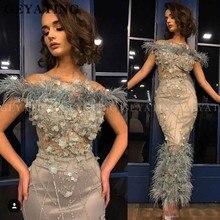 Teal 3D Hoa Lông Vũ Tiếng Ả Rập Váy Dạ Hội Nàng Tiên Cá Lệch Vai Tới Mắt Cá Bán Chính Thức Váy 2021 Thanh Lịch Dubai Promise