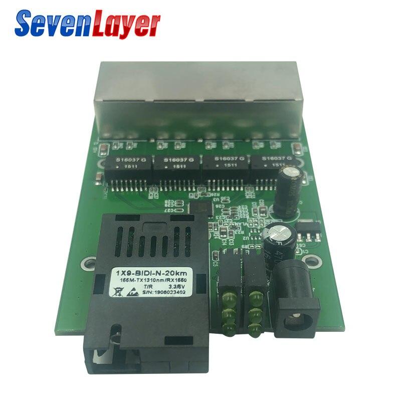 Fast Ethernet Switch Converter 20KM Ethernet Fiber Optical Media Converter Single Mode 4RJ45 & 1SC Fiber Port PCBA 10/100M