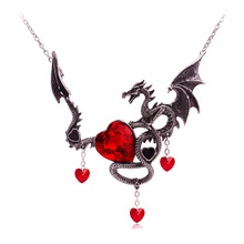 Dragon Necklace for Women Men Austrian Rhinestone Heart Necklaces Pendant Personality Necklace Accessory Halloween Party Jewelry power game necklace ice and fire song necklace personality vintage tangle august dragon pendant