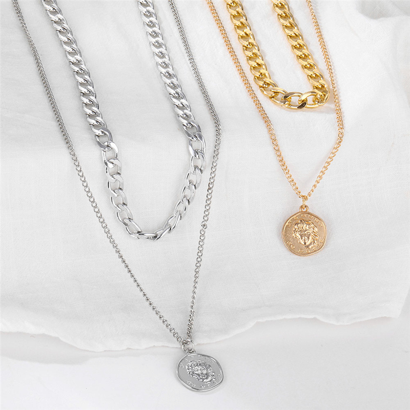 Punk Thick Link Chain Choker Necklace for Women Fashion Gold Color Heart Coin Pearl Pendant Necklaces Statement Jewelry Hot Sell
