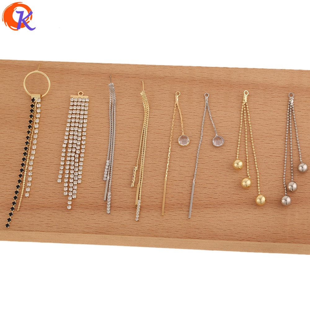 Cordial Design 50Pcs Jewelry Accessories/CZ Earrings Connectors/DIY Making/Rhinestone Claw Chain/Hand Made/Earring Findings