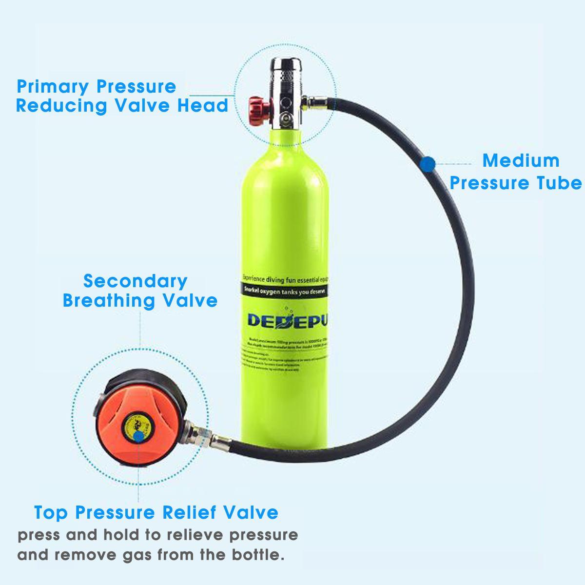 Equipo de Buceo 1L, cilindro de buceo, tanque de oxígeno, respirador, adaptador de repuesto, bomba de alta presión, accesorios de respiración de buceo - 3