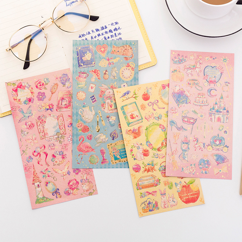 1 Sheets Bronzing Sticker Fairy Tale World Flowers Decoration Material Cute Stickers Diy Hand Accoun