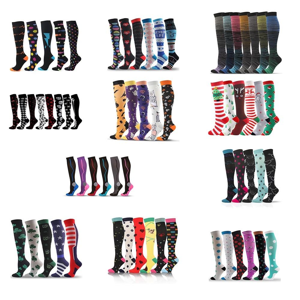 Compression Stockings Socks 3/5/6/7/8 pairs per set Unisex Sports Socks Lot Prevent Varicose Veins Nurse Socks Compression