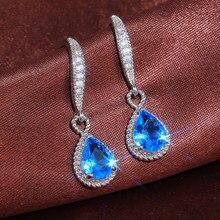 Huitan brilhante zircão cúbico gota de água forma brincos femininos elegante presente aniversário de casamento para o amante jóias de alta qualidade