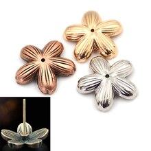 Incense-Burner-Holder Household Imitation-Cherry Sandalwood Pure-Copper Indoor Blossom