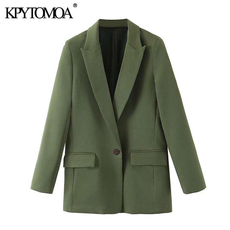 KPYTOMOA Women 2020 Fashion Office Wear Pockets Blazer Coat Vintage Notched Collar Long Sleeve Female Outerwear Chic Tops