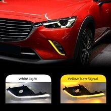 Auto Knipperende 2Pcs Auto Drl Led dagrijverlichting Voor Mazda CX 3 CX3 2015   2019 2020 Met Geel richtingaanwijzer Functie