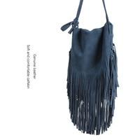 Genuine Leather Tassel Bohemian Style Dull Polish Leather Bag Blue Europe And America Fashion Shoulder WOMEN'S Bag Cross Border