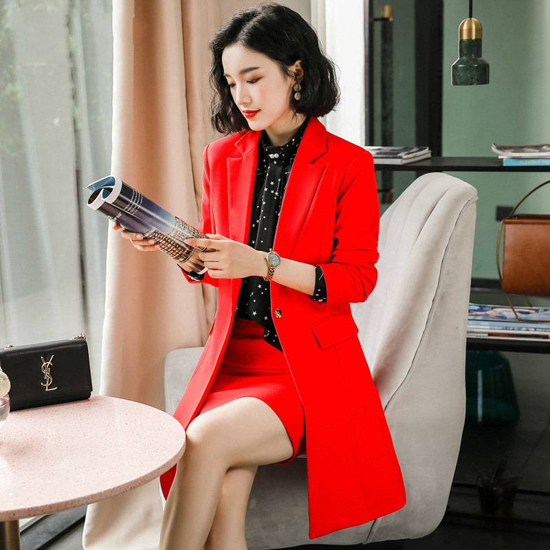 Overalls Skirt Sets Women Skirt Suit Women New Fashion Long Suit Blazer+skirt Two-Piece Sets Business Office Lady OL Skirt Suit
