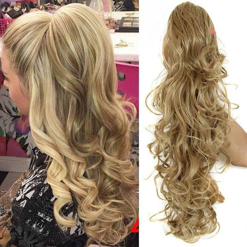 Лиси Девушка Синтетический Для женщин коготь на хвост волосы на заколках для наращивания волнистые Стиль конский хвост шиньон коричневые в...