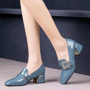 Women's Patent Leather Buckle Pumps Spring Woman Crystal Slip On Square Toe Chunky Heels Female Fashion Ladies Dress Shoes 1