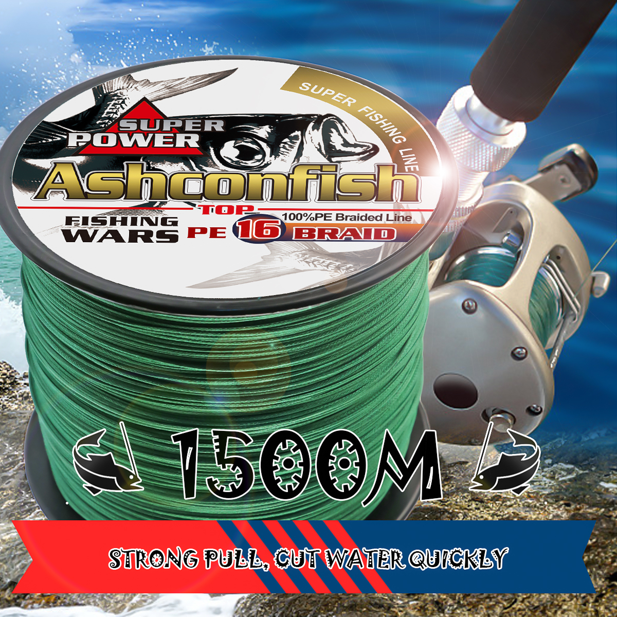 Super hollowcore braided fishing line 1500M 16 Strands pe super Ocean Fishing braided wires 20 500LBS leader line 0.16 2.0mm