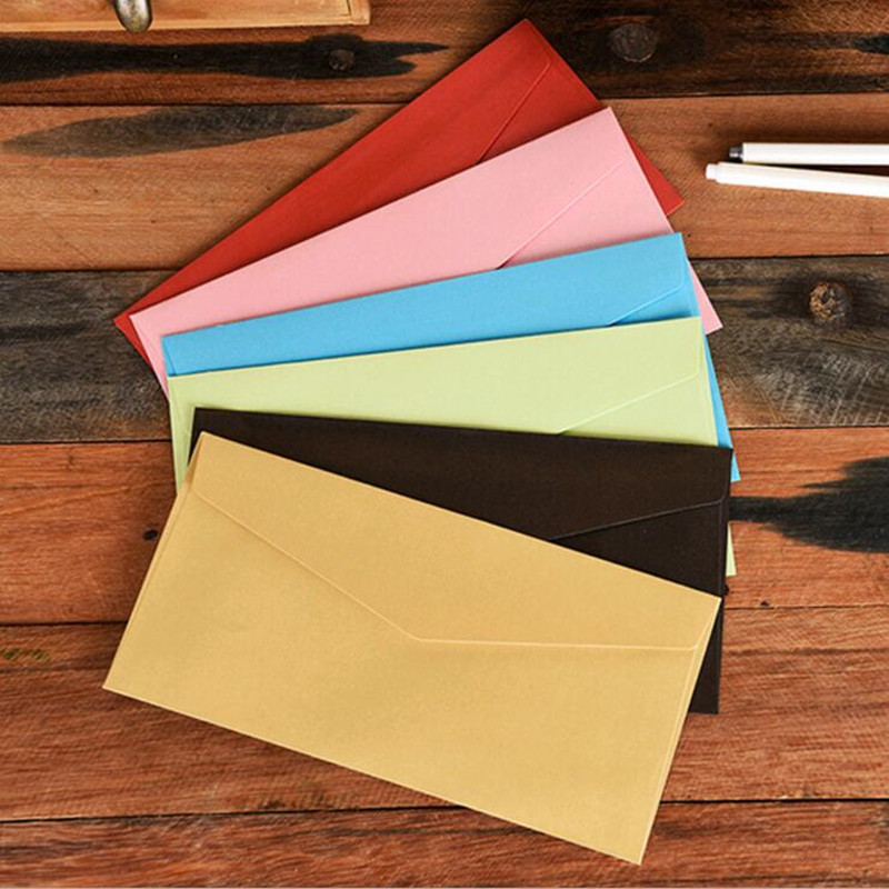 10pcs/lot Vintage Paper Envelopes Colorful Paper Envelope Wedding Sobres Invitation Envelopes Card For Offices Stationery
