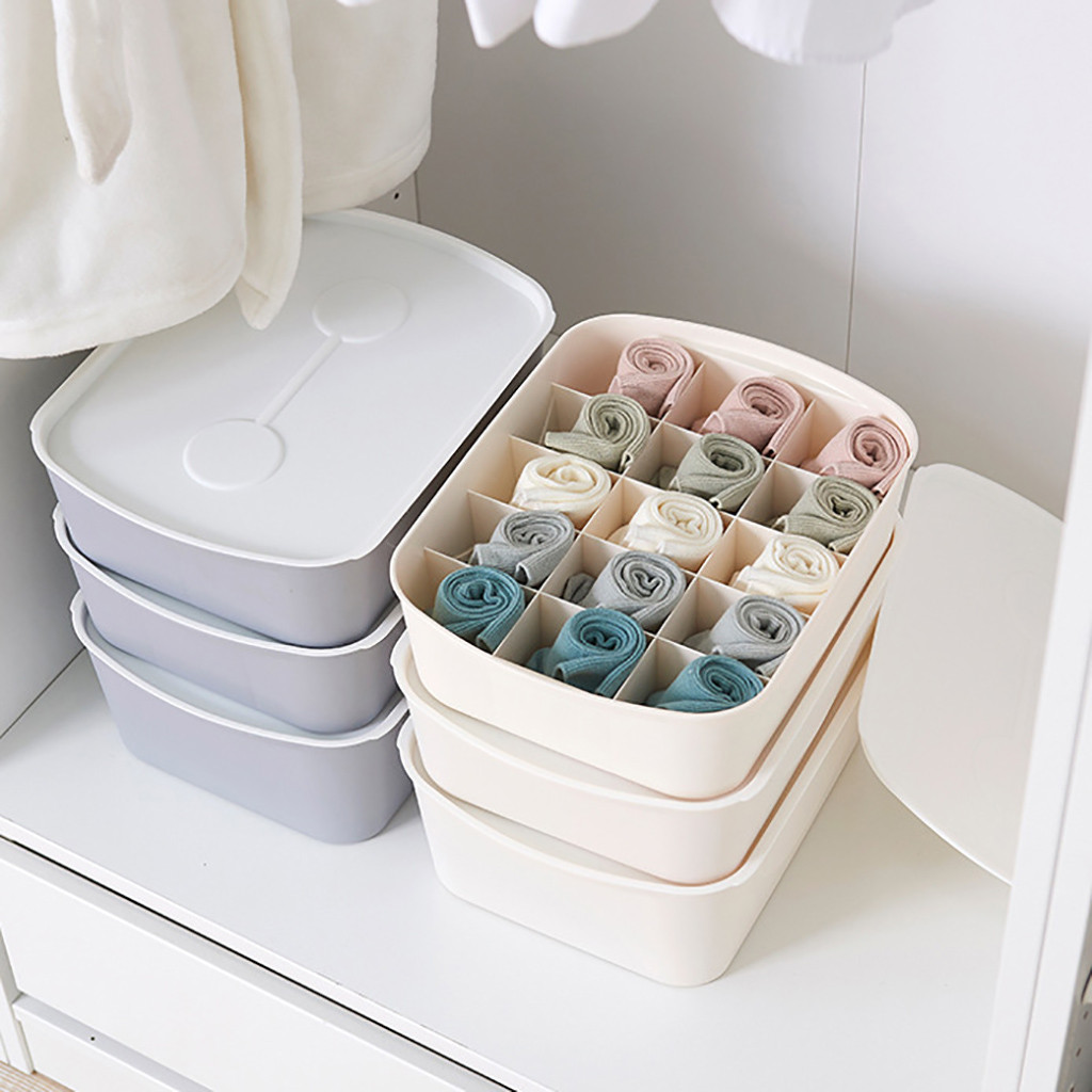 Socks Storage Box Underwear Closet-Organizer Bra Compartment Plastic Rack Lidded title=