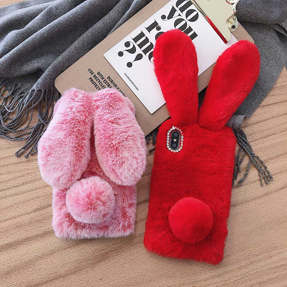 Cases For iphone 11 Pro Max 12 Mini 12pro XS MAX XR X SE Hairy Cute Rabbit Phone Case Soft For iPhone 6 6S 7 8 Plus girl Gifts