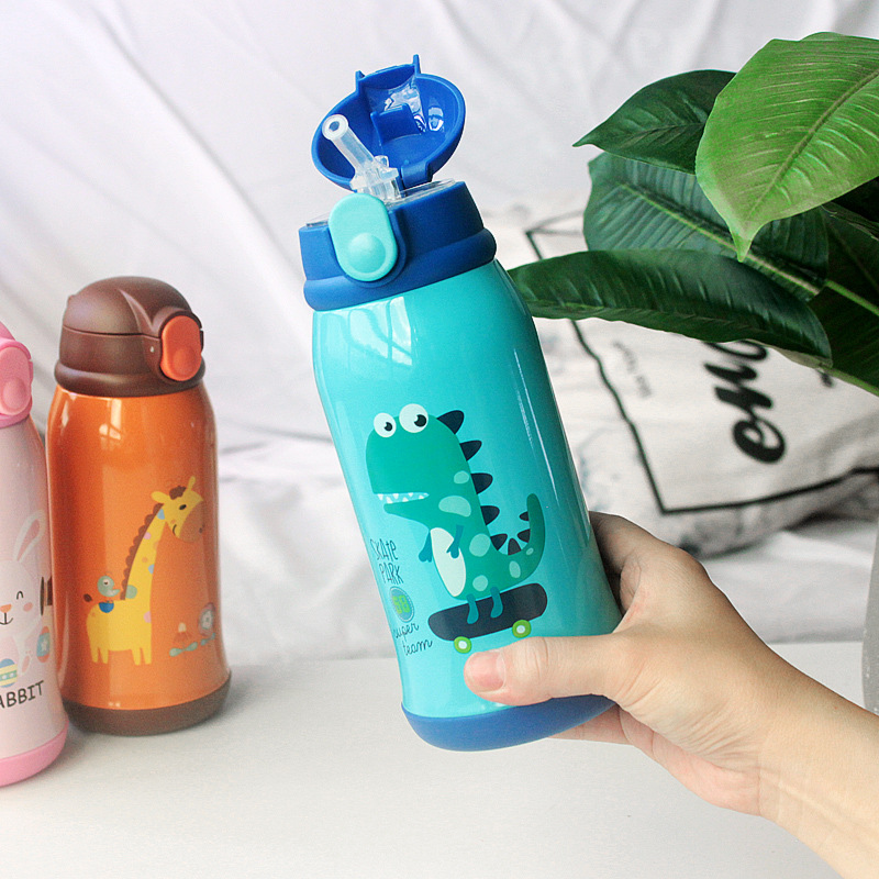 600ml <font><b>Baby</b></font> Feeding Cup With Cover Stainless Steel Milk Thermos for Children Insulated hot water Bottle leak-<font><b>poof</b></font> thermal Cup image