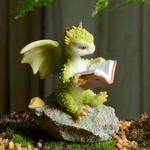 Miniature Fairy Garden and Terrarium Mini Dragons reading book Mini Collectible Fantasy Figurine